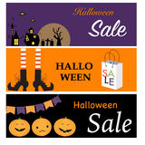 Happy Halloween  sale banners with night city , witch legs, pump Royalty Free Stock Photography