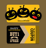 Happy Halloween. Sale Coupon, voucher and tag. Vector illustrati Royalty Free Stock Image