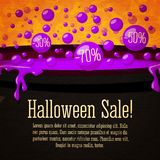 Happy halloween Sale cute retro banner on the. Craft paper texture with black witch cauldron boiling violet potion, with sale marks in bubbles, halloween Royalty Free Stock Images