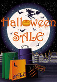 Happy Halloween sale greeting shopping card Royalty Free Stock Photos