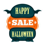 Happy Halloween Sale offer design template. Vector illustration with scary title, with monster legs and wings. Isolated illustrati Stock Photos