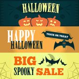Happy Halloween Sale offer design template. Vector illustration with three bright banners.  illustration. Stock Photo