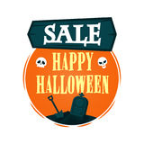 Happy Halloween Sale offer design template. Vector illustration with wooden sign and empty grave with shovel. Isolated illustratio Royalty Free Stock Photography