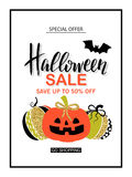 Happy Halloween Sale. Poster with cute glamorous sparkling pumpkin. Vector illustration. Design for greeting cards Royalty Free Stock Photo