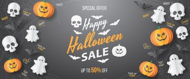 Happy Halloween sale  banner. Paper cut style. Vector illusration stock photography