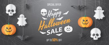 Happy Halloween sale  banner. Paper cut style. Vector illusration royalty free stock images