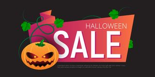 Happy Halloween Sale vector banner or sticker design template with leaves and pumpkin Royalty Free Stock Photography