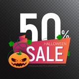 Happy Halloween Sale vector banner or sticker design template with leaves and pumpkin Stock Images