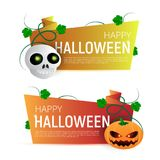 Happy Halloween Sale vector banner or sticker design template with leaves, pumpkin and skull Royalty Free Stock Photos