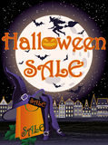 Happy Halloween sale witch card. Happy Halloween sale witch shop card, vector illustration Stock Photos