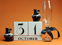 Free Happy Halloween Save The Date White Block Calendar With Champagne Glass And Chocolate Muffins Royalty Free Stock Photography - 30285757