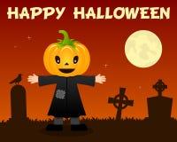 Happy Halloween Scarecrow & Cemetery Royalty Free Stock Photos