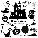 Happy Halloween scary black silhouettes collection. Royalty Free Stock Photos