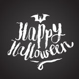 Happy halloween scary calligraphy. Chalk on board Royalty Free Stock Photos