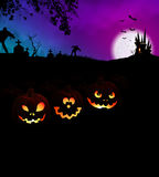 Happy Halloween Scary Night Party Concept with Pumpkins. Happy Halloween Scary Night Party Concept with glowing Jack O Lantern pumpkins at cemetery and monsters royalty free stock photography