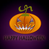 Happy Halloween. A scary Pumpkin on purple background Royalty Free Stock Photo