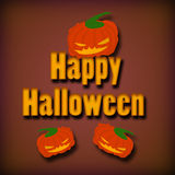 Happy Halloween. Scary Pumpkins on brown background Stock Images