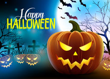 Happy halloween scary vector design with pumpkins and cemetery Stock Photography