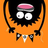 Happy Halloween Screaming monster head silhouette. Bunting flags pack Boo letters. Flag garland. Hanging upside down. Black Funny Royalty Free Stock Images