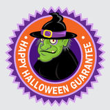 Happy Halloween Seal. Happy Halloween Guarantee Seal with an original Witch character Royalty Free Stock Image