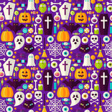 Happy Halloween Seamless Background. Vector Illustration of Scary Party Flat Style Tile Pattern. Trick or Treat Stock Photos