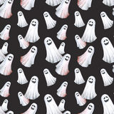 Happy Halloween seamless pattern background. Funny ghosts, spirits. Watercolor illustration. Horror night. Halloween Party Illustration Royalty Free Stock Image