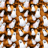 Happy Halloween seamless pattern background. Funny ghosts, spirits. Watercolor illustration. Horror night. Halloween Party Illustration Stock Photography