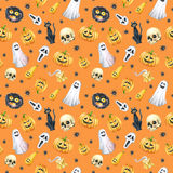 Happy Halloween seamless pattern background. Funny pumpkin, ghost, black cat, monsters. Watercolor illustration Stock Photos