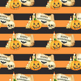 Happy Halloween seamless pattern background. Funny pumpkins smile, skull, scroll and candle. Watercolor illustration Royalty Free Stock Photos