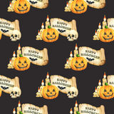 Happy Halloween seamless pattern background. Funny pumpkins smile, skull, scroll and candle. Watercolor illustration Stock Image