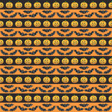 Happy Halloween seamless pattern background. Funny pumpkins smile, skull, scroll and candle. Watercolor illustration Royalty Free Stock Images
