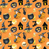 Happy Halloween seamless pattern background. Young beautiful witch. Funny pumpkin, ghost, black cat, monsters. Watercolor illustra Stock Images