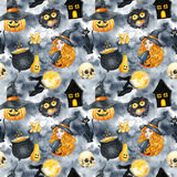 Happy Halloween seamless pattern background. Young beautiful witch. Funny pumpkin, ghost, black cat, monsters. Watercolor illustra Stock Image