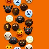 Happy Halloween seamless pattern. Celebration party background with angry stylized characters Stock Illustration