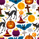 Happy halloween seamless pattern with characters Stock Photo