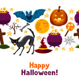 Happy halloween seamless pattern with characters Stock Photography