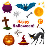 Happy halloween seamless pattern with characters Stock Images