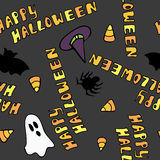 Happy Halloween Seamless Pattern. A cute seamless pattern that says Happy Halloween and has halloween themed items Royalty Free Illustration