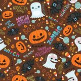 Happy Halloween seamless pattern. Stock Photo