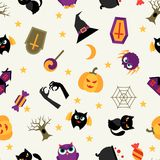 Happy halloween seamless pattern with flat icons Royalty Free Stock Photo