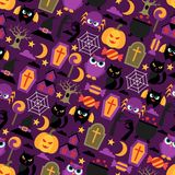Happy halloween seamless pattern with flat icons Stock Image