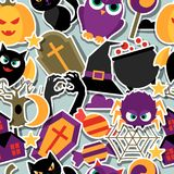 Happy halloween seamless pattern with flat sticker Royalty Free Stock Image
