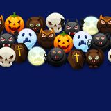 Happy Halloween seamless pattern. Celebration party background with angry stylized characters Vector Illustration