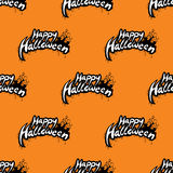 Happy Halloween seamless pattern illustration with cemetery on orange background. Stock Photography