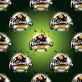 Happy Halloween seamless pattern illustration with moon and pumpkin on dark green background. Royalty Free Stock Photo