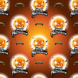 Happy Halloween seamless pattern illustration with moon scary faces on dark orange background. Stock Photos
