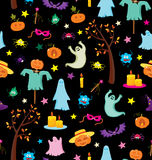 Happy Halloween seamless pattern with pumpkins, ghosts, spiders. Stock Photos