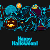 Happy halloween seamless pattern with stickers Royalty Free Stock Image