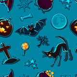 Happy halloween seamless pattern with stickers Royalty Free Stock Photos