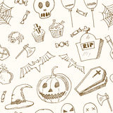 Happy Halloween seamless pattern Trick or Treat Doodles. Hand Drawn Holiday Design Stock Photos